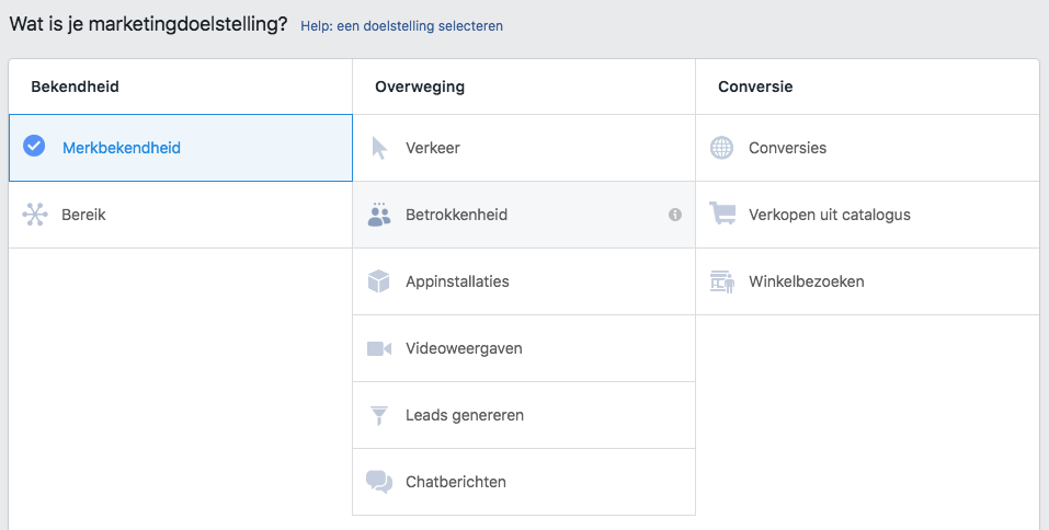 Facebook marketing doelstellingen